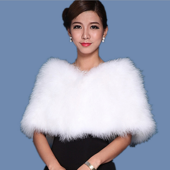 Ostrich Feather Cape Fur Style Wedding Dress Bigger Sizes Shawl ...