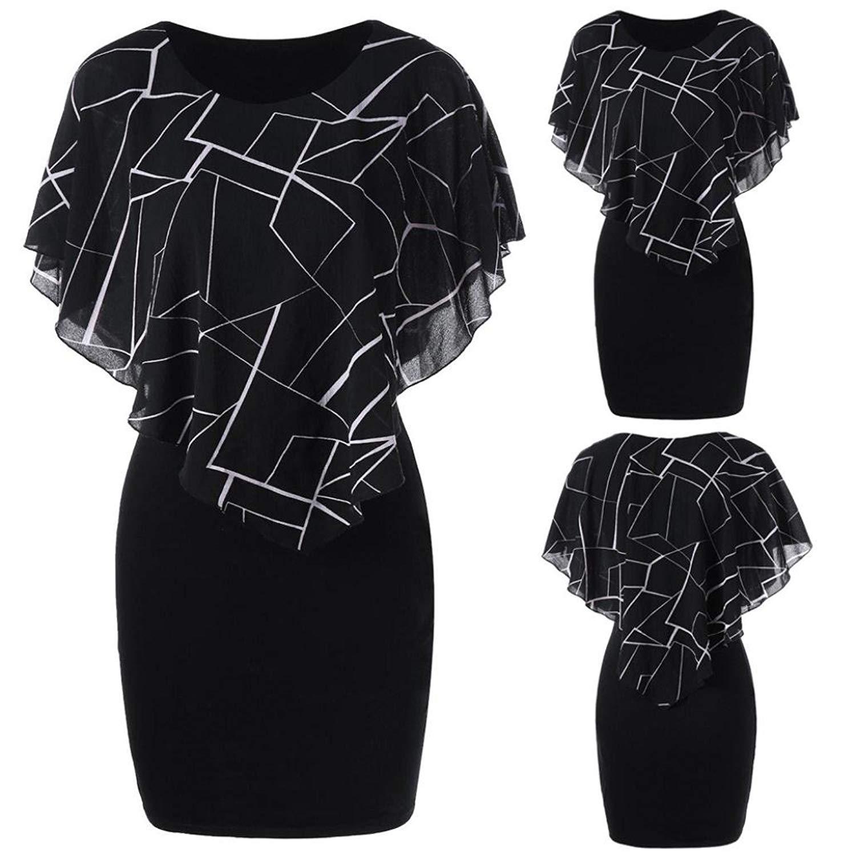 dfcef58ec2a Get Quotations · Gyoume Plus Size Dress Printed Chiffon O-Neck Ruffles Mini  Tight Dress Evening Party Maxi