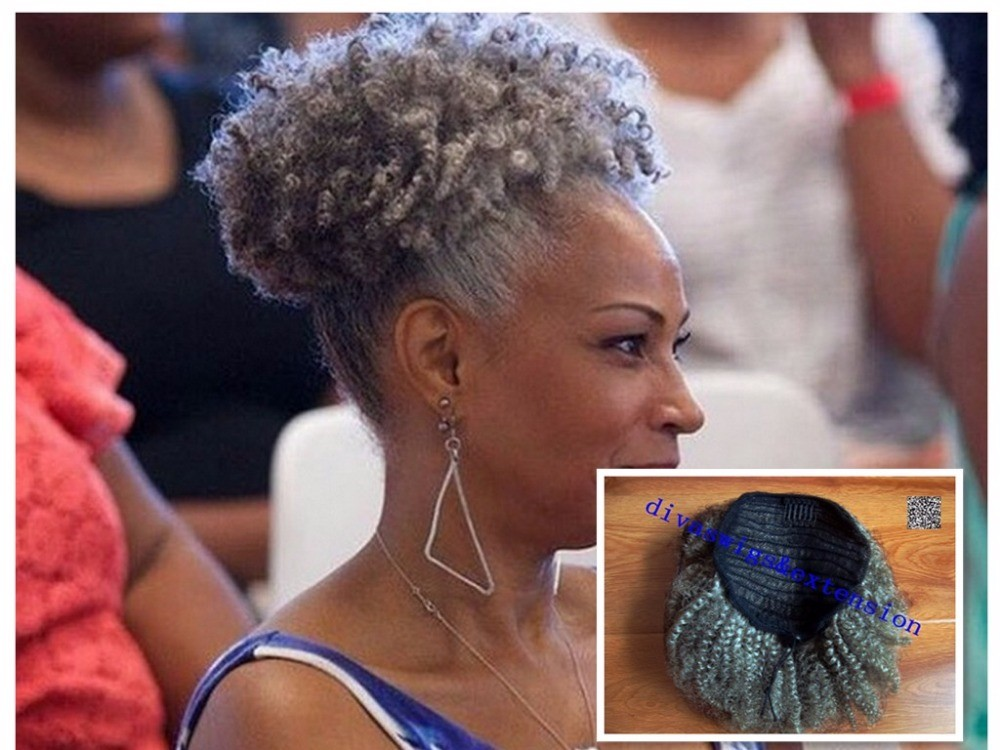 100 Real Hair Gray Puff Afro Kinky Curly Ponytails