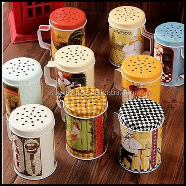 Retro Kitchen Chef Chicken Cafe Sugar Salt Pepper Flour Jar Can Pot Tin containers,custom plastic box container manfuacturer