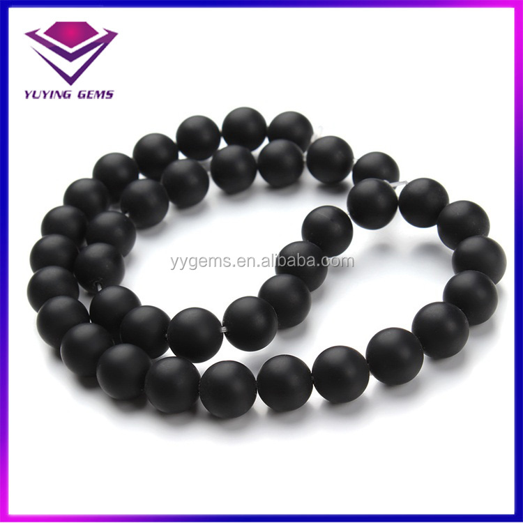 Hot Sale 6-12mm Matte Agate Beads Black Onyx Gem Stones Price