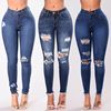 2019 Fashion Denim Women's Juniors Distressed Slim Fit Stretchy Skinny ripped Jeans