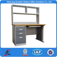 cheap new design steel wooden modern laptop computer lap PC desk with bookshelf storage
