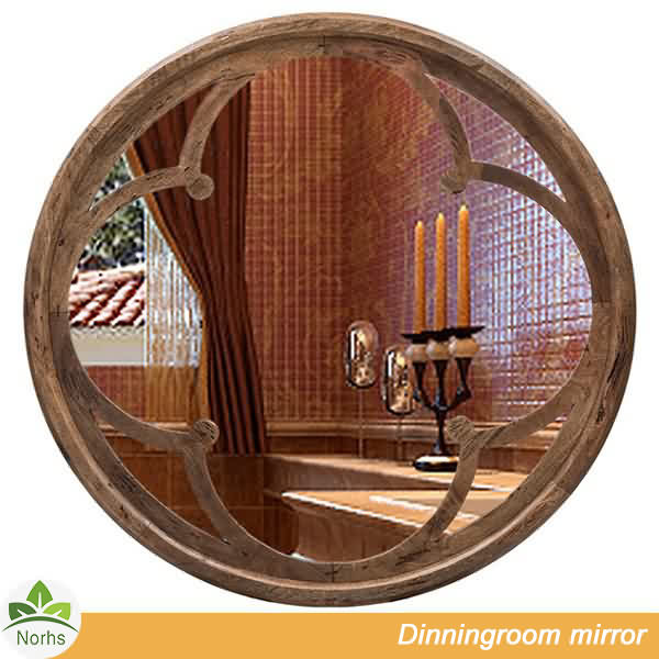Norhs rustic wall mounted dark brown carved large round decorative mirror in wooden frame for dinning room