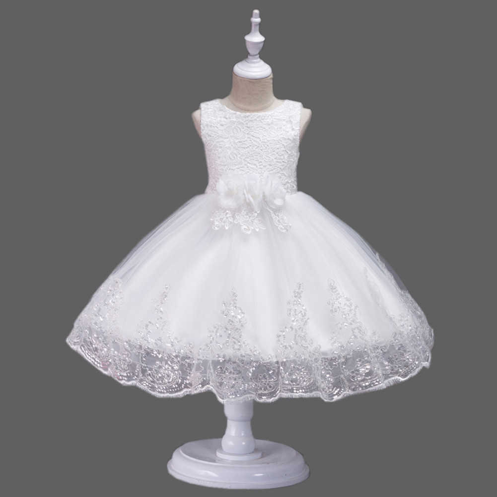 White Frock For Baby Girl Party Dress Frock Design Girls Party Vintage Floral Dress L7791 фото