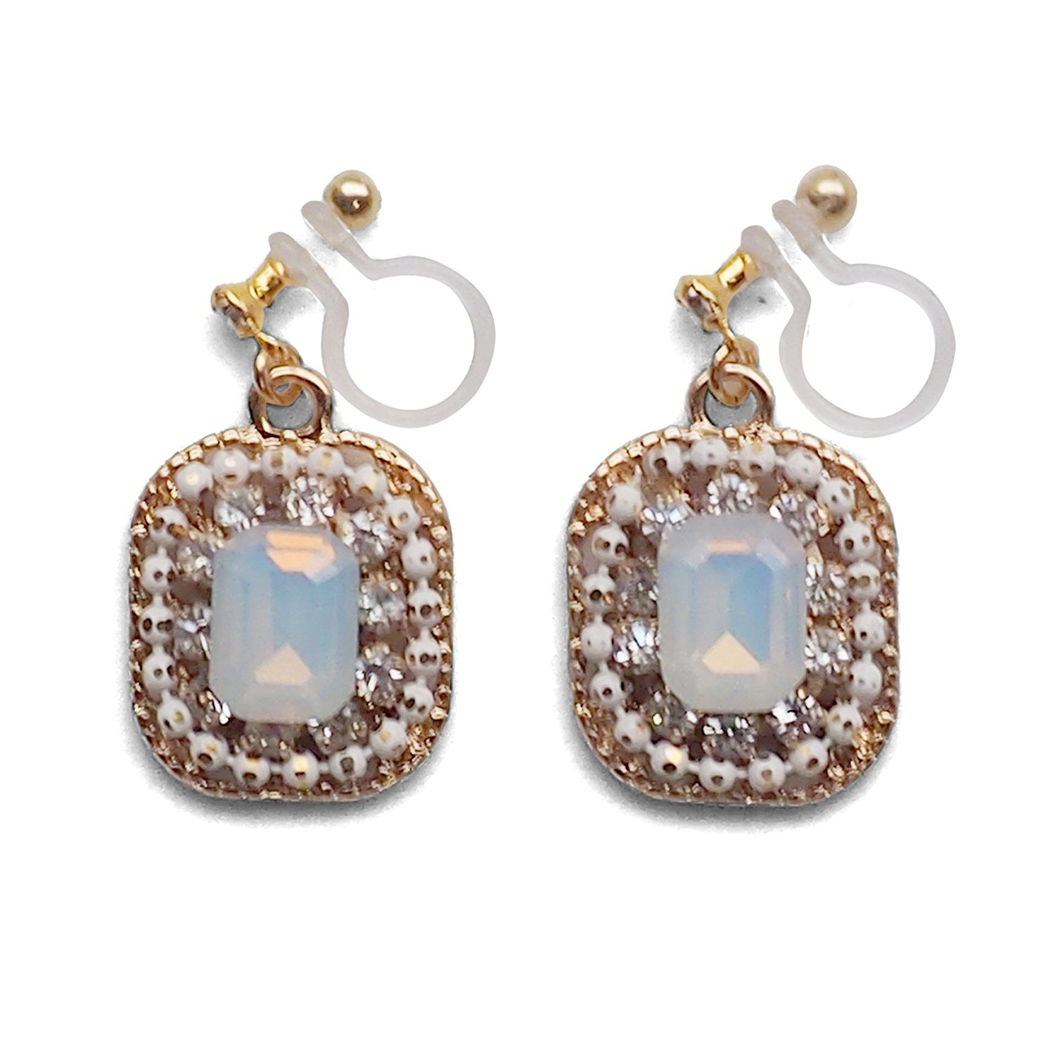 White Crystal Rhinestone Square Invisible Clip On Earrings Bridal Wedding Dangle Gold tone Clip-ons