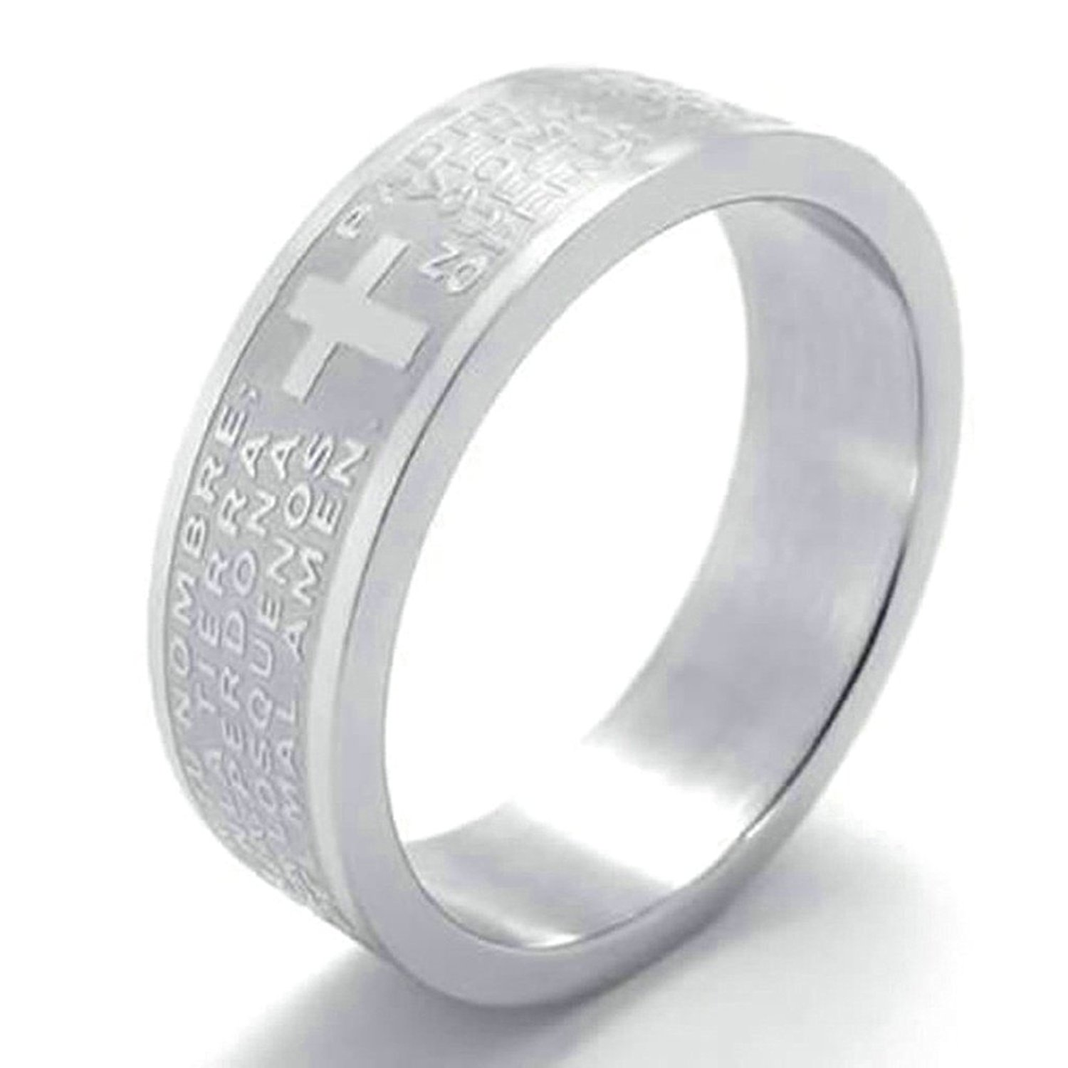 0fdb7baa47 Get Quotations · Daesar Stainless Steel Rings Mens Rings 6mm English  Version Lords Prayer Bands Cross Rings Silver