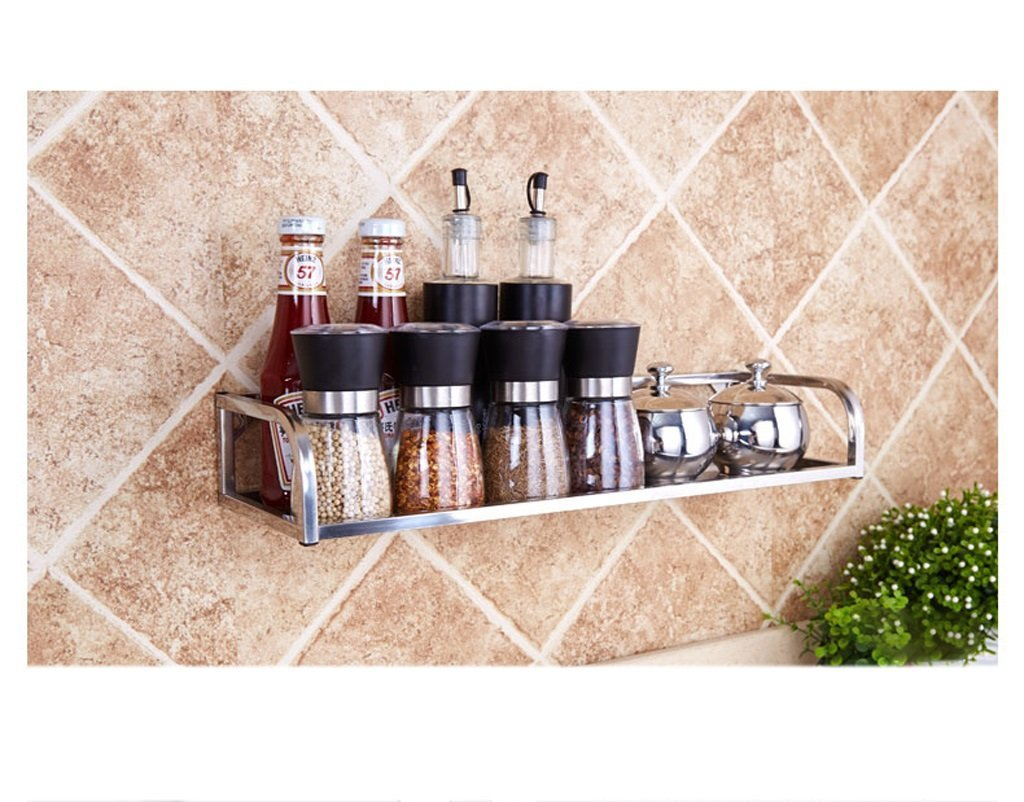 Hyun times 1F Stainless Steel Kitchen Shelf Wall Mount Pendant Wall Seasoning Rack Seasoning Rack Oil Salt Sauce Vinegar Storage Rack