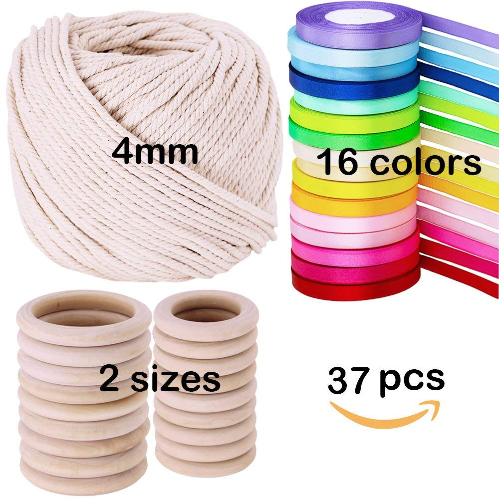 "Supla 2 Size 20 PCS Unfinished Solid Wooden Rings Wooden Teething Ring Natural Wood Teething Rings,16 colors 400 yard satin ribbon rolls in 2/5"" wide and Macrame Cotton Cord,1/8"" Wide,109 yard Length"