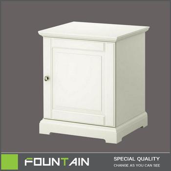 Pure White Lack One Tür Holz Nachttisch Französisch Weiß Nachttisch