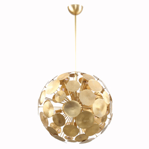 American style 6 light antique total brass metal home goods pendant lamp lighting