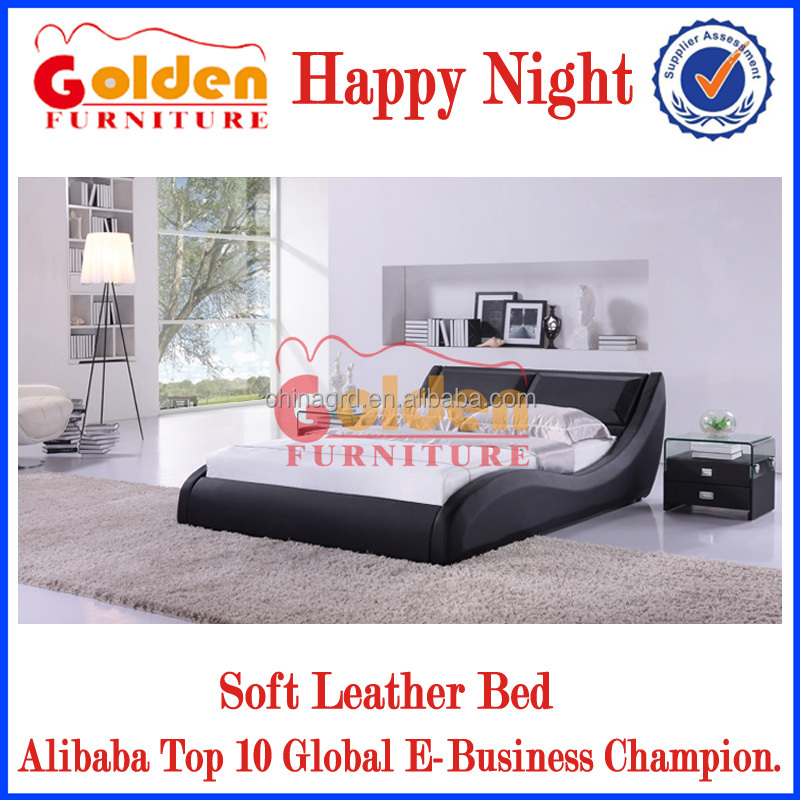 Japanese Black Soft Leather Bedroom Furniture Used Bed Frames G889