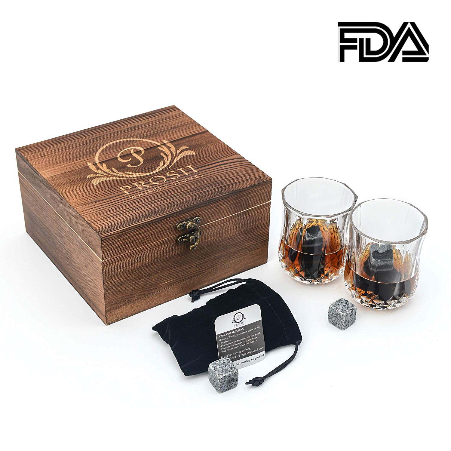 Whiskey Stones Gift Set by Prosii - 8 Granite Chilling Whisky Rocks - Reusable Ice Cubes - 2 Crystal Whiskey Glasses - Black Velvet Pouch in Luxury Wooden Box - Great Bar Accessories