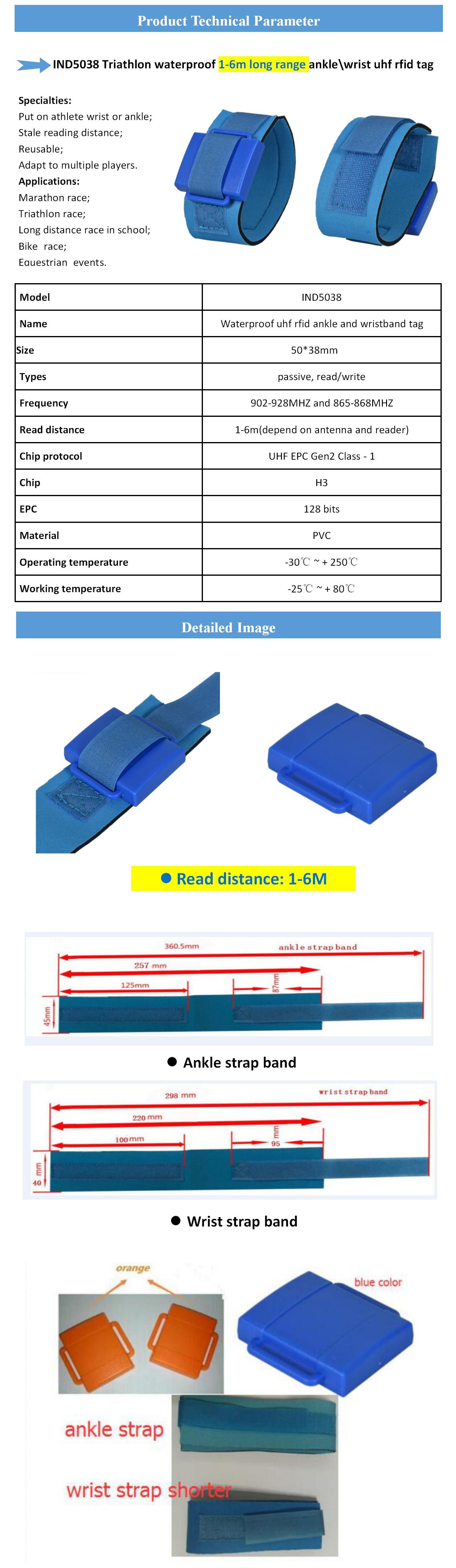 Marathon timing system1-6m 수동적 인 uhf rfid 발목 팔찌 hl 태그와 PVC reusable 6mm'6 * 트라이 애슬론 불어 넣어주는 system