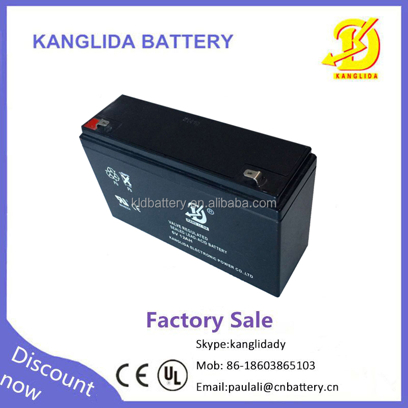 6v12ah maintenance-freebattery 6v 12ah LED light cctv power back supply made in China