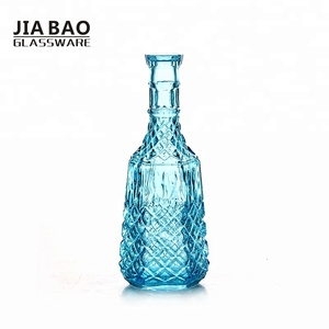 1L Engraved antique colored wine glass decanter