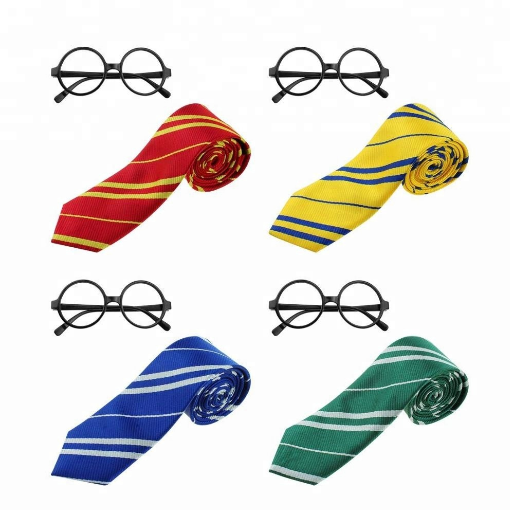 Harry Potter 8 pak Gestreepte Tie Novelty Brilmontuur Set Cosplay Party Kostuums Accessoires Halloween Kerst