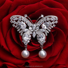 New Product Big Value Crystal Butterfly Wing Brooches for Party