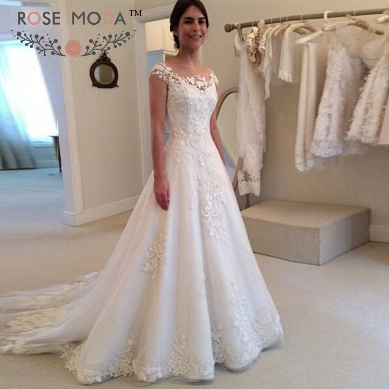 Elegant Lace Sleeve Short Wedding Dresses 2016 Scoop Neck: Aliexpress.com : Buy Sheer Bateau Neck Short Cap Sleeves