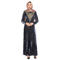 Zakiyyah N201802 New arrival abaya in dubai Burqa with embroidery pattern pleuche Burqa for sale FOUR SIZE COULD BE CHOOSE