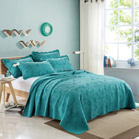 Soft solid color king size blue 200gsm 100% cotton embroidered quilted adults bed spread