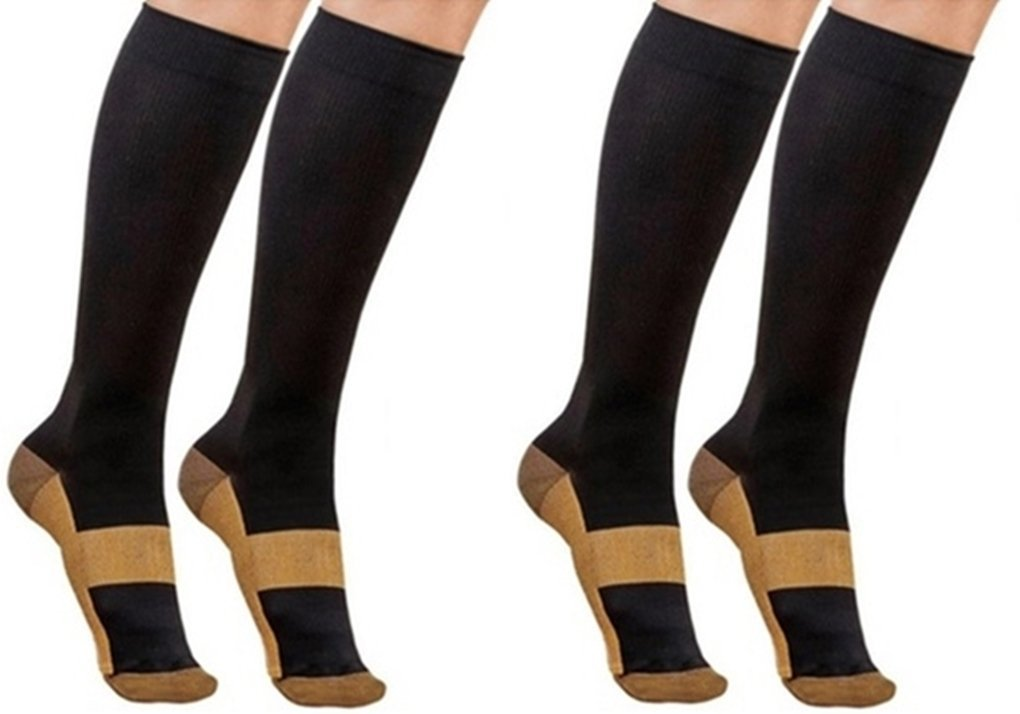 a8fed4ac1990c3 VSEmporium Copper Compression Socks Below Knee High Reduce Leg Swelling  Pain & Appearance Of Varicose Veins