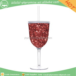 c1539c6e047 Red Glitter Acrylic Wine Glass with Lid and Straw,Wine glass with  lid,Stemmed Glass wine cup