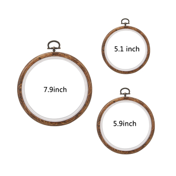 3 stks/set Borduurringen Frame Set Kruissteek Hoepel Ring Geïmiteerd Hout Cirkel Set Display Frame Voor DIY Kruissteek naald