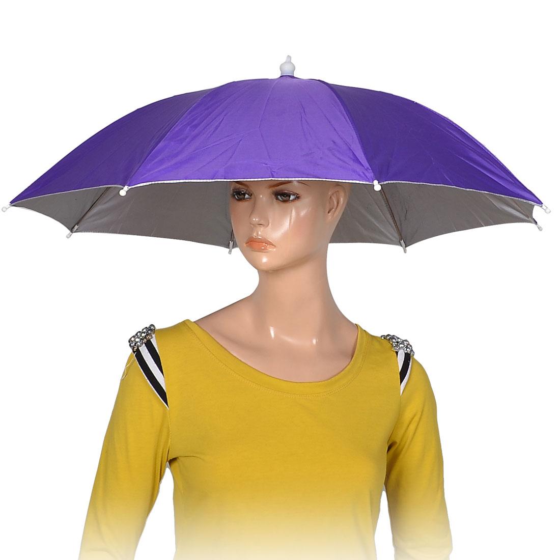 Фиолетовый полиэстер 8 ребра рыбалка солнце дождь головные уборы зонтик Hat Cap