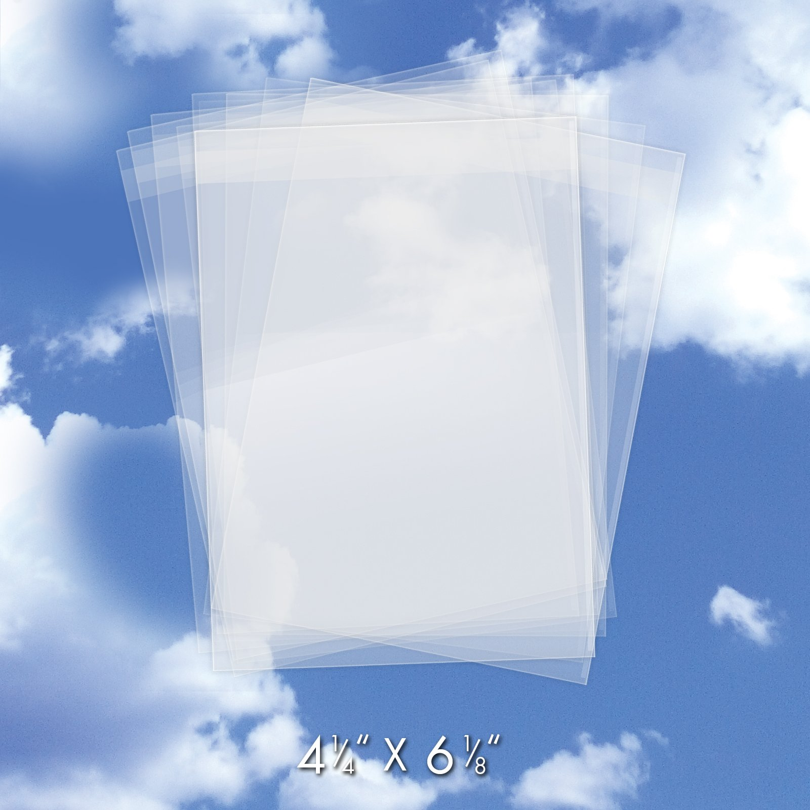 "200 Crystal Clear Plastic Cello Bags (4-1/4"" x 6-1/8"") - Bulk Resealable Cellophane Sleeves w/Self Adhesive Flap - For Greeting Cards, Photos, Art - USPS Mailer (1.2 Mil Thick) #CELLO4-1/4X6-1/8CL200"