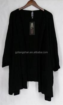 Ladies Cardigan Handmade Knitting Sweaters Black White No Button