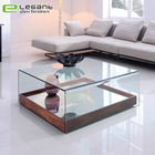 Living Room wooden Base Clear Glass Coffee Table