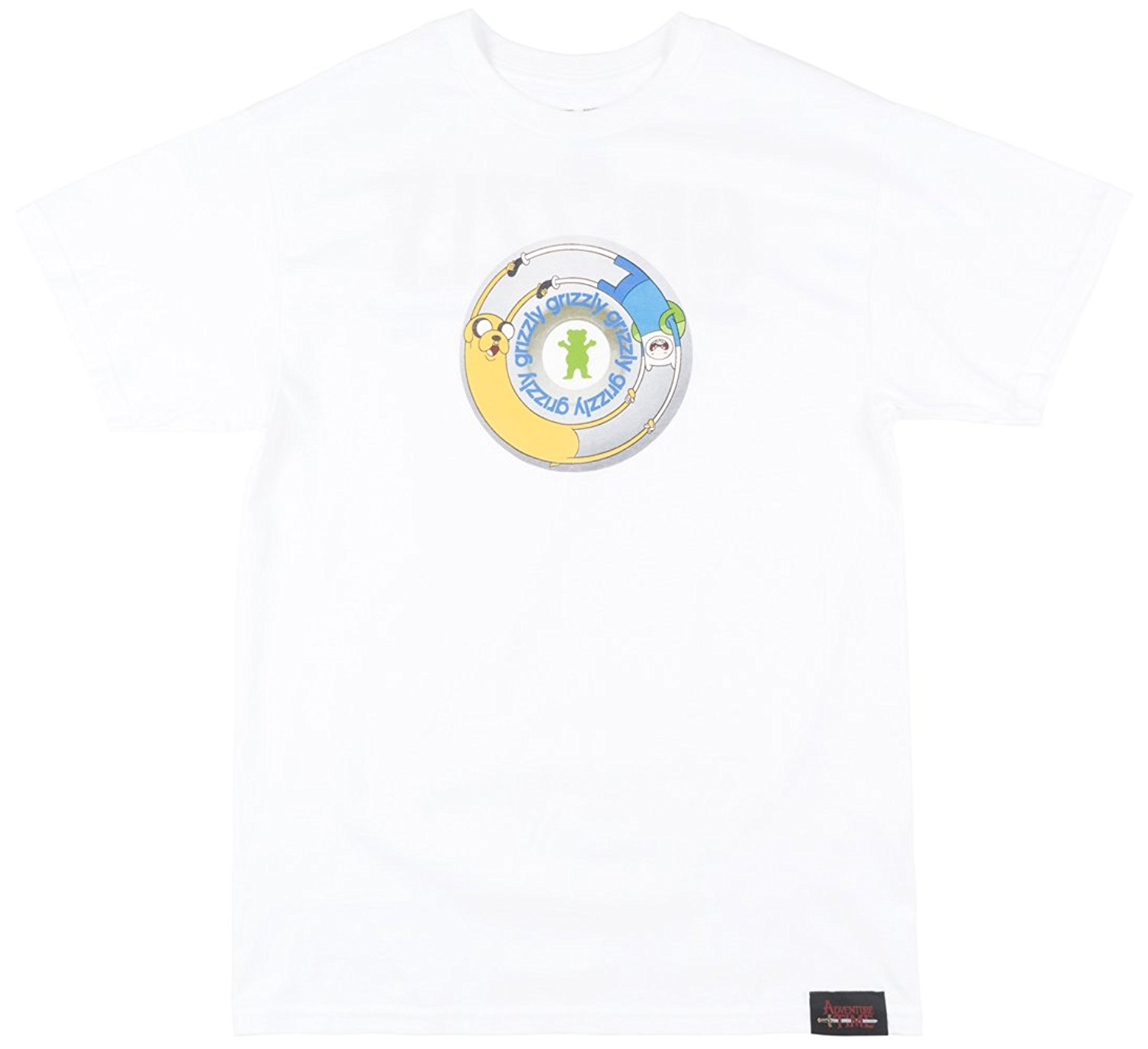 abf26cf2a Get Quotations · Grizzly Griptape x Adventure Time Lets Get Stupid Mens  Shirt in White