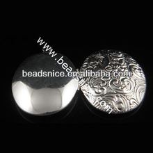 Brass Pendant Album box Oval silver plated 29.9X24mm inside diameter 23X16.1mm heart locket pendant