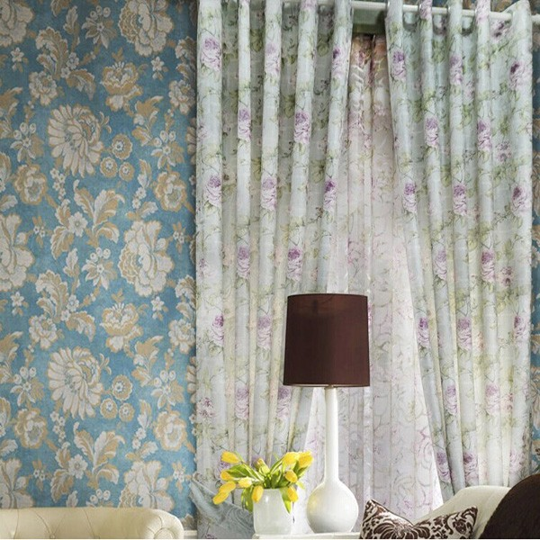Hot Sale Cotton Flower Pattern Jacquard Fabric Crystal Bead Curtains