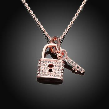 18k rose gold plated key and lock pendant austrian crystal necklace 18k rose gold plated key and lock pendant austrian crystal necklace pendant women love pendants necklaces aloadofball Image collections