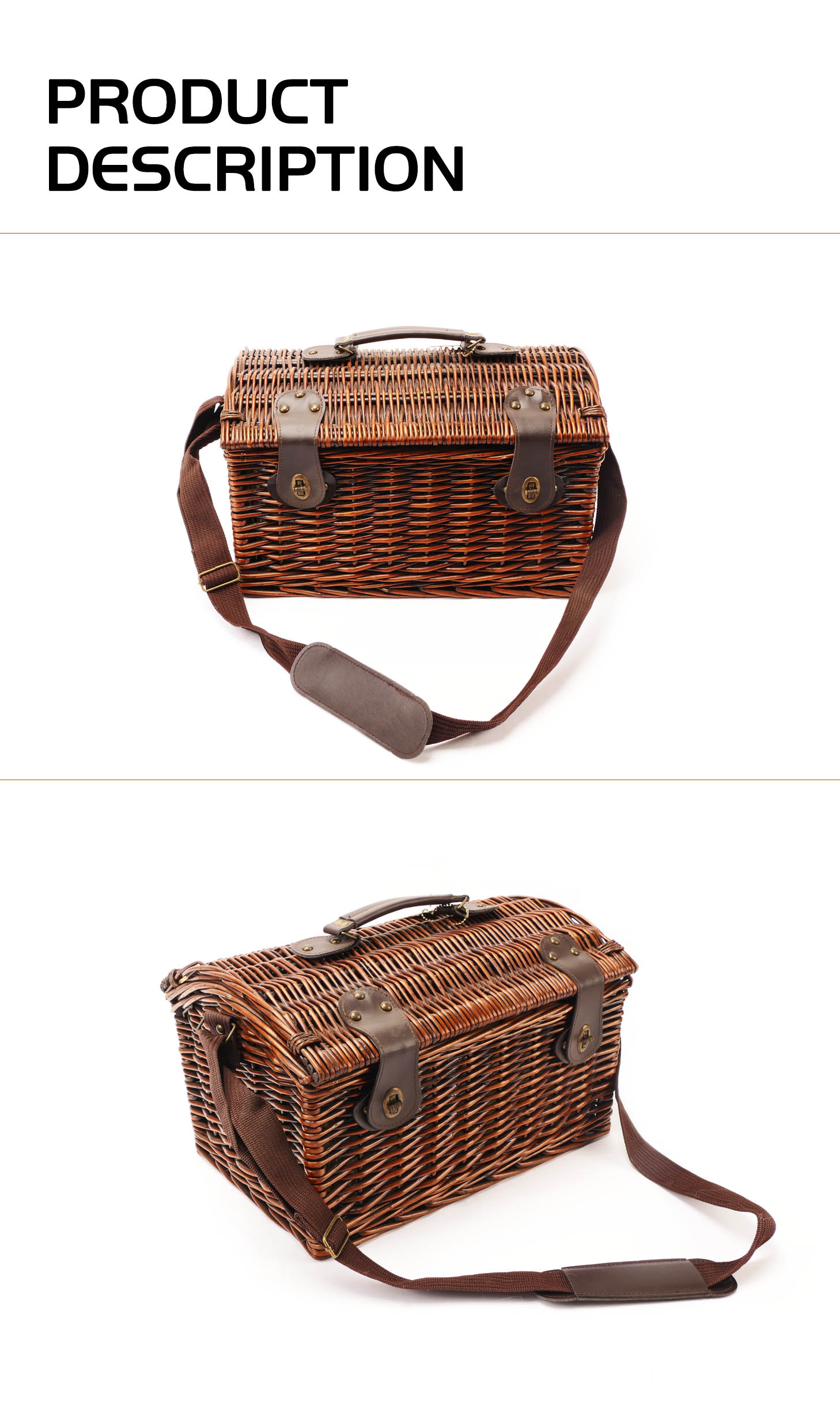 OEM ODM Direct Factory Cheap Brown 4 Person Wicker Picnic Basket with Lid