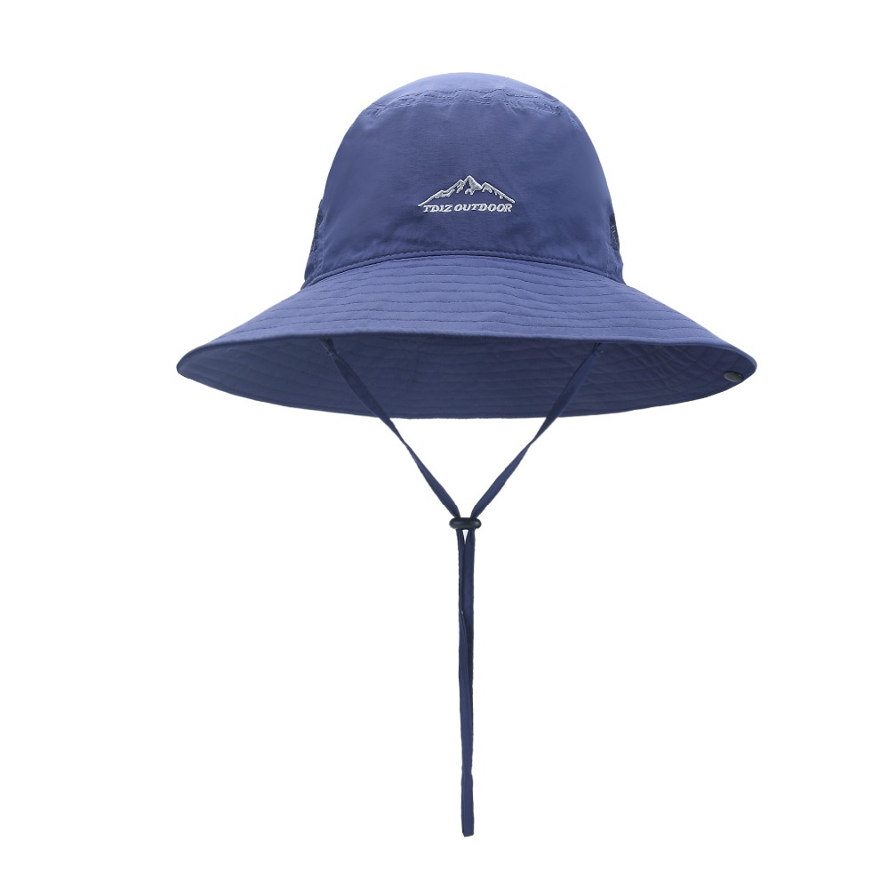 Flat embroidery 100%nylon bucket <strong>hat</strong> with mesh trim sunscreen fisherman fishing <strong>hat</strong>