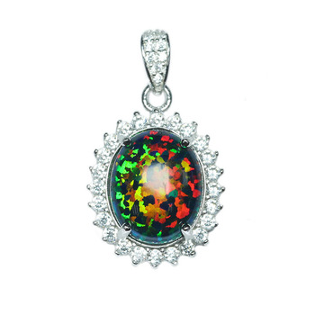 925 sterling silver fashion jewelry pendant black opal stone necklace pendant