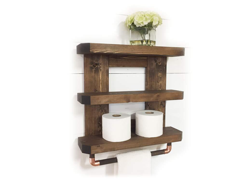 Mountain Creek Woodworks Rustic Wooden Bathroom Shelf & Towel Rack/Rod (Espresso)
