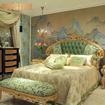 Bisini Luxury European Style Golden Hand Carved Royal Wooden King Size Bed Design Bf07