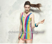 rainbow color long tank top for lady,sexy tank top in vietnam wholesale