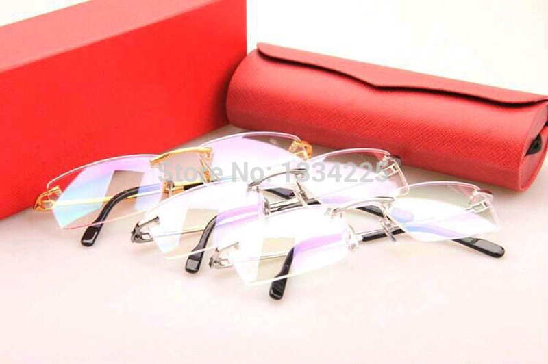 914906ca71 Get Quotations · Rimless fashion glasses frame 3139988 Gold Silver Gun 3  colors with Titanium arms myopia glasses frame