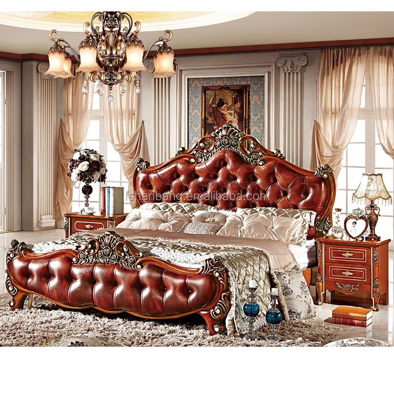 Luxus Königlichen Dunkelbraun Holz Mdf Leder Kopfteil König Queen-size-bett  Italien Stil Schlafzimmer Möbel Set - Buy Valencia Schlafzimmer ...