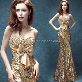 Golden Mermaid Floor Lengh Celebrity Evening Dresses With Big Bow