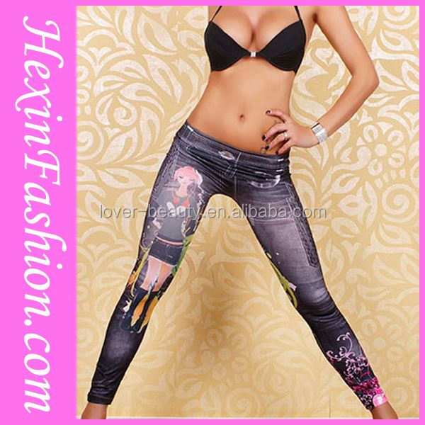 No Moq Limit Flower Printed 2014 Sex Girl Photos In Tight Jeggings