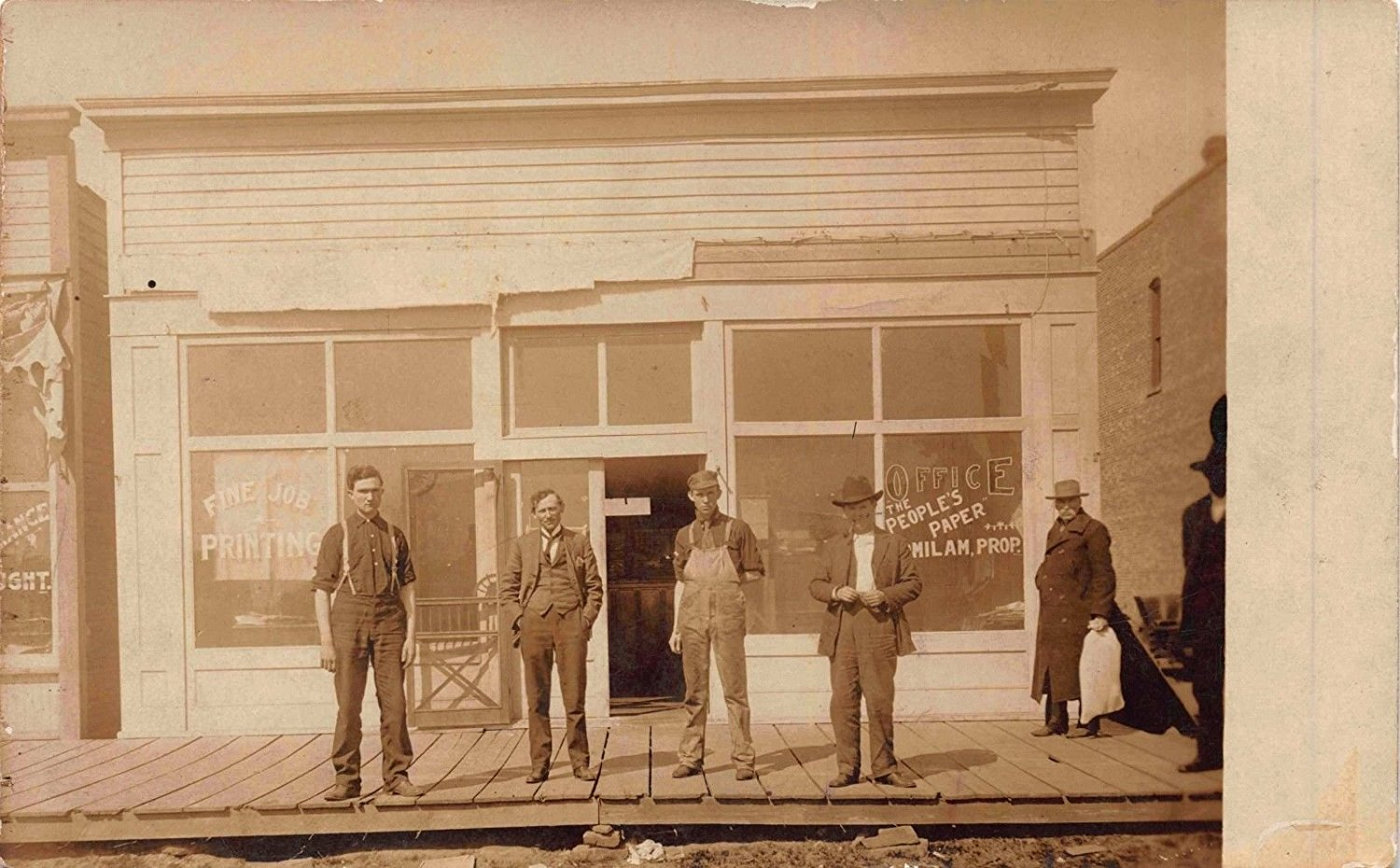 RPPC Men Outside the Office of The People's Paper Printer, Pennsylvania~116138