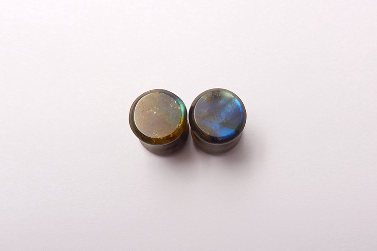 Gemstone Factory Made Ear Plugs Labradorite Stone 10mm 1.5 flare 13 thickness Concave