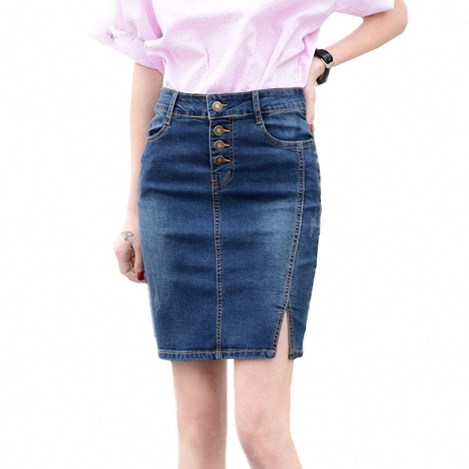 2a981ed5f26 Get Quotations · 7XL Plus Size Denim Skirt NEW Elegant Women Slim Mini Denim  Skirt Simple Sexy Side Split