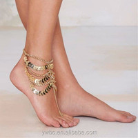 Bohemian Style Coin Tassel Barefoot Sandal Beach Anklet Foot 14K Gold Link Chain Bracelet with toe ring